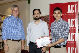 Peter Chrysanthakis, Vice President of Institutional Advancement  of Anatolia College, with Stathis Karanastasis and Sotiris Papasotiriou winners of the Best Back Seat.