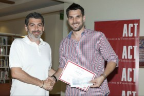 Dr. Nicholas Chourvouliadis, Director of Anatolia School of Business of ACT with Nikolaos Koutsoudis of e-troufa, one of the winners of the Business Competition «John and Mary Pappajohn Business Plan Awards».
